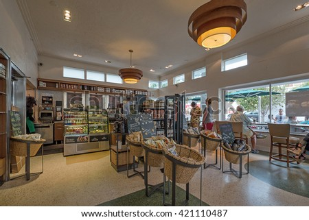MIAMI BEACH, USA - MARCH 16, 2016: Starbucks coffee store interior view in South Beach. Starbucks is the largest coffeehouse company in the world.  - stock photo