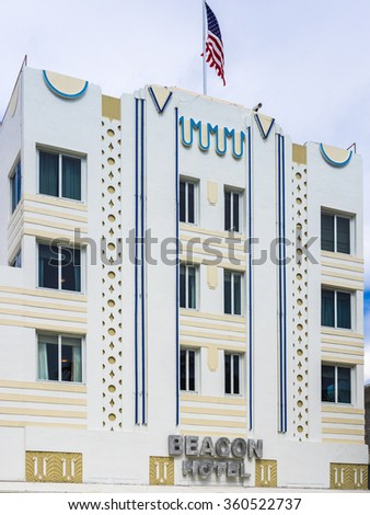 MIAMI BEACH, USA - SEPTEMBER 8, 2015. Art Deco Beacon hotel in the touristic Ocean Drive, Miami Beach, Florida. - stock photo