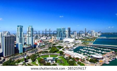 Miami Buildings, Florida. Aerial view. - stock photo
