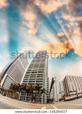 Miami city buildings, upward view from the street. - stock photo