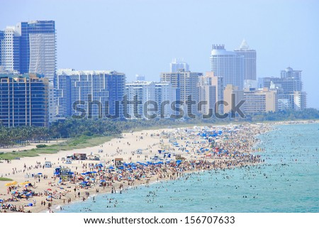 miami city scape in day time ,florida USA - stock photo