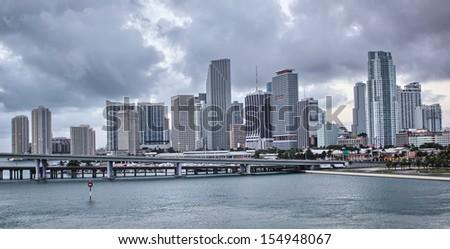 Miami city skyline panorama with urban skyscrapers. - stock photo