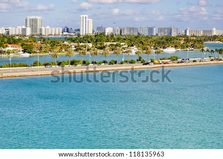 Miami coast from across the water on sunny day. - stock photo