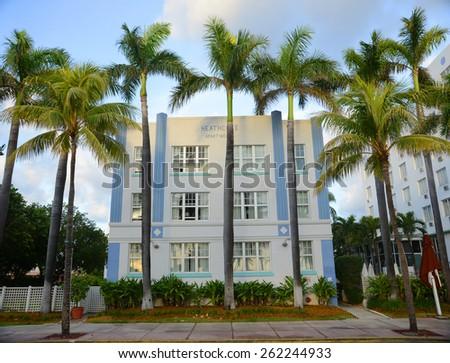 MIAMI - DEC 24: Art Deco Style Building Heathcote Apartments on Ocean Drive in Miami Beach in the morning on December 24th, 2012 in Miami, Florida, USA. - stock photo