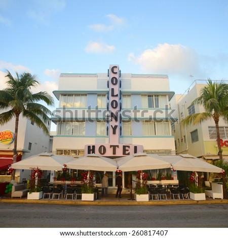MIAMI - DEC 25: Colony Building with Art Deco Style in Miami Beach on December 25th, 2012 in Miami, Florida, USA. - stock photo