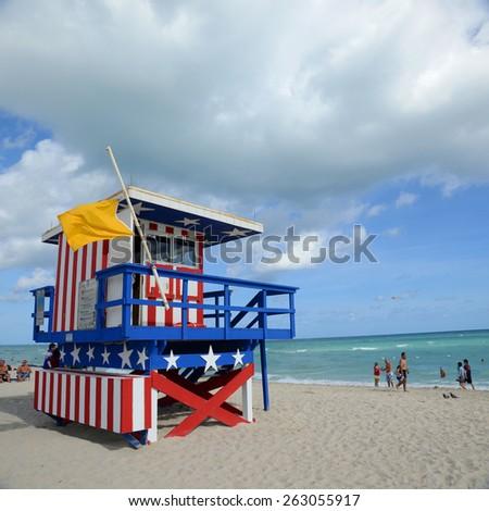 MIAMI - DEC 24: Lifeguard Huts in South Beach, Miami Beach on December 24th, 2012 in Miami, Florida, USA.  - stock photo