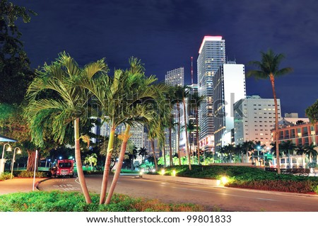 Miami downtown street view at night with hotels. - stock photo