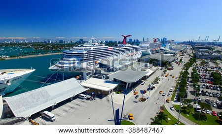 MIAMI - FEBRUARY 27, 2016: Cruise ships in Miami port. The city is a major destination for cruise companies. - stock photo