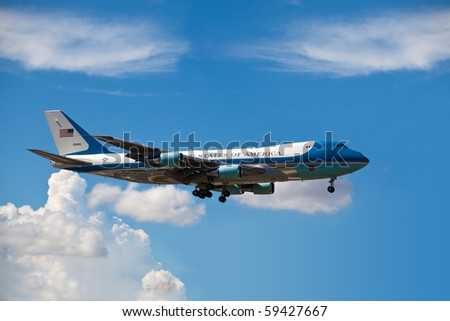 MIAMI, FL - AUG 18: Air Force One lands in Miami carries President Obama to attend a fundraiser for Florida Democrats at the Fontainebleau Hotel on Wednesday August 18, 2010 in Miami - stock photo