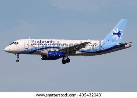 MIAMI, FL - FEBRUARY 16:  An Interjet Sukhoi Superjet 100 landing on February 16, 2016 in Miami, FL. Interjet is a Mexican low-cost airline based in Toluca. - stock photo