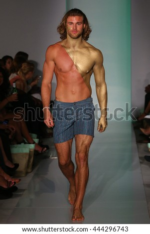 MIAMI, FL - JULY 17: A model walk runway in designers swim apparel at the Mia Marcelle fashion presentation at 1 hotel during Miami Swim Fashion Week on July 18, 2015 - stock photo