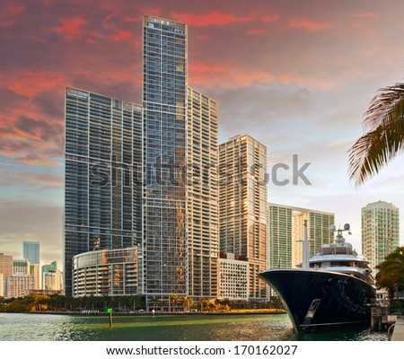 Miami Florida business and residential buildings at sunset - stock photo