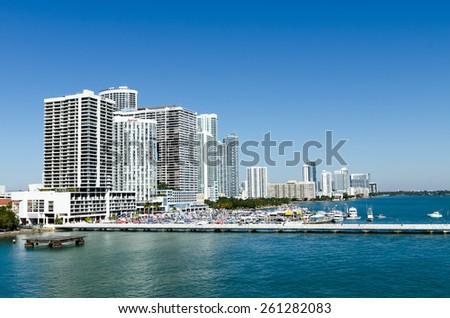 Miami, Florida - February 15, 2015: Panoramic view of the downtown Miami skyline, Florida, USA. - stock photo