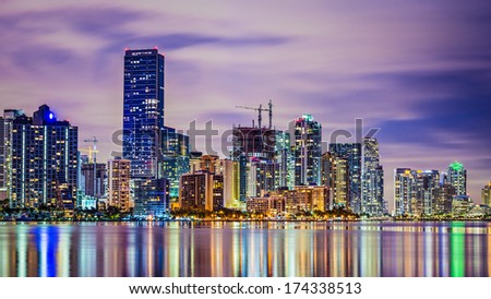 Miami, Florida skyline at Biscayne Bay. - stock photo