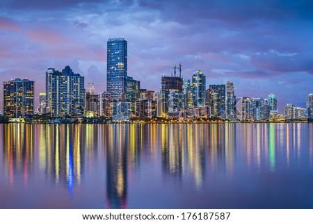 Miami, Florida skyline at Biscayne Bay. - stock photo