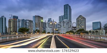 Miami, Florida skyline from Brickell Key. - stock photo