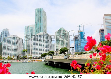 Miami, Florida skyline from Brickell Key. USA - stock photo