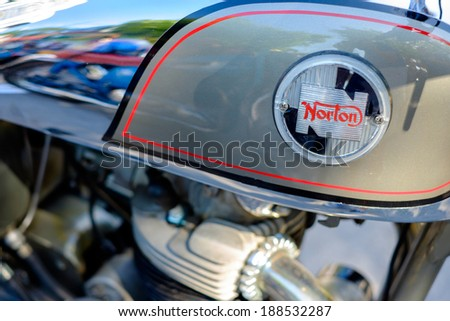 MIAMI, FLORIDA USA -?? APRIL 12, 2014: Close up of a vintage Norton motorcycle on display at the Old Soul Young Blood Vintage Motorcycle festival. - stock photo