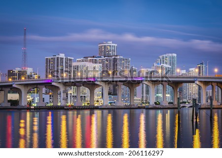 Miami, Florida, USA downtown cityscape. - stock photo