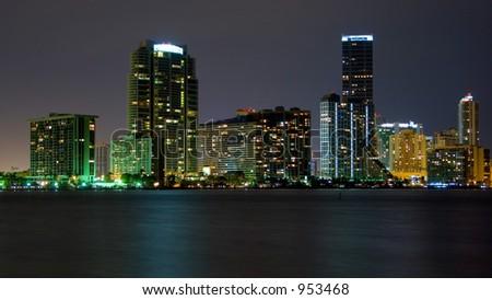 Miami From Key Biscayne - stock photo