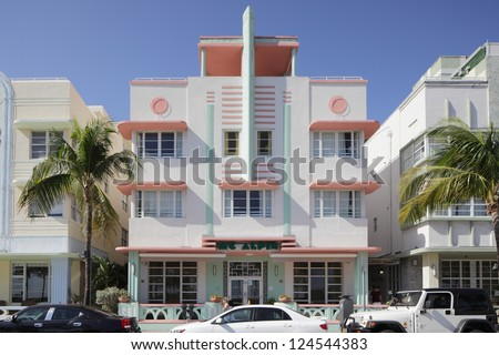 MIAMI - JANUARY 12: Mc Alpin Hotel located at 1424 Ocean Drive was built in 1940 by Lawrence Murray Dixon January 12, 2013 in Miami, Florida. - stock photo