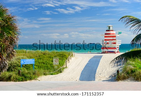 MIAMI - JANUARY 3:The coastal resort of Miami Beach,FL on january 3,2014.Miami Beach has been one of America's pre-eminent beach resorts since the early 20th century - stock photo