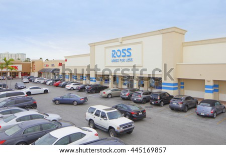 MIAMI - JUNE 15: Image of the RK Causeway Plaza located at 121st Street and Biscayne Boulevard in North Miami with tenants including Ross, OfficeMax, Burger King June 15, 2016 in Miami FL - stock photo