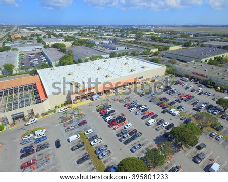 MIAMI LAKES - MARCH 19: Aerial photo of Home Depot which is a home improvement store founded in 1978 in Georgia with currently over 2200 locations March 19, 2016 in Miami Lakes FL - stock photo