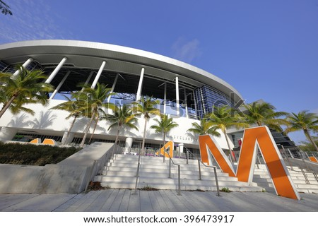 MIAMI - MARCH 26: Exterior photo of the Marlins Park home to the Florida Marlins Baseball Team was completed in 2012 and located at 501 Marlins Way - stock photo