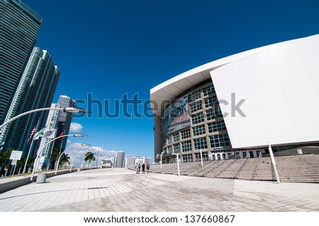 MIAMI - NOVEMBER 5: American Airlines Arena in Miami on November 5, 2011, is home to National Basketball Association team the Miami Heat. American Airlines arena has a maximum capacity of 19,600. - stock photo