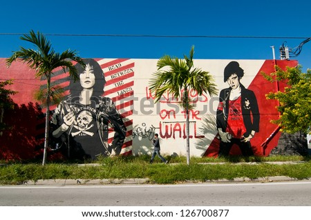 MIAMI - NOVEMBER 5: The Wynwood Design District on November 5, 2011 in Miami. Wynwood features one of the largest open-air street art installations in the world. - stock photo