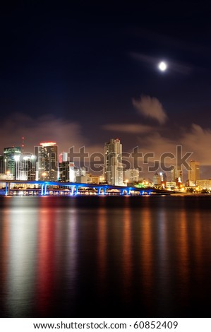Miami skyline at night showing the financial district - stock photo