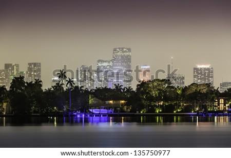 Miami skyline by night with illuminated downtown - stock photo