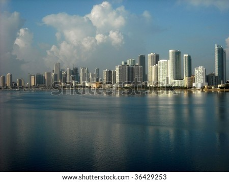 Miami skyline looking south from the Julia Tuttle Causeway - stock photo