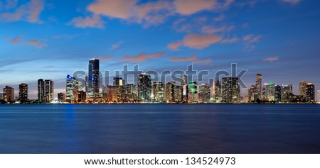 Miami Skyline seen from Key Biscayne at dusk - stock photo