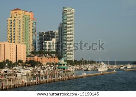 Miami south beach cityscape - stock photo