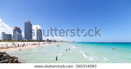 Miami South Beach in Florida with luxury apartments and waterway - stock photo