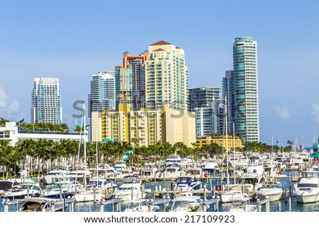 Miami south beach marina with skyline - stock photo