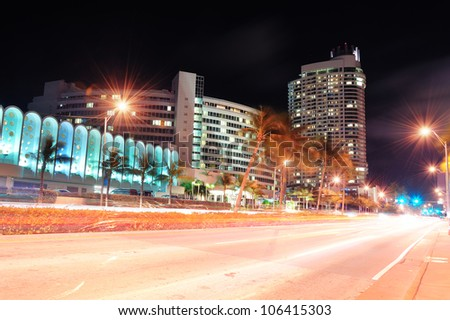 Miami south beach street view at night - stock photo