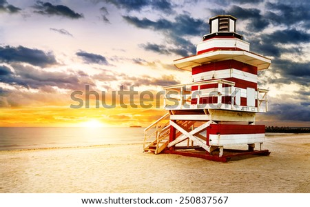 Miami South Beach sunrise - stock photo