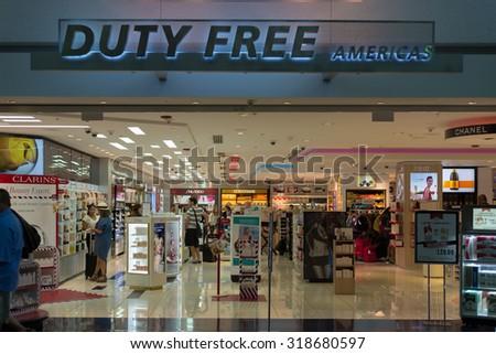Miami, U.S.A. - September 12, 2015: Duty Free Americas store at Miami International Airport, U.S.A. - stock photo