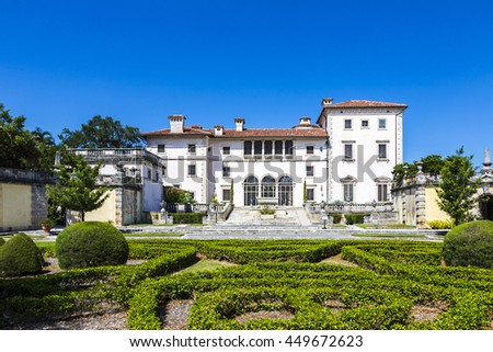 MIAMI, USA - AUG 24, 2014: Vizcaya, Floridas grandest residence, once belongs to millionaire industrialist James Deering, is in downtown Miami, Florida, USA. - stock photo