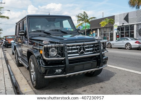 MIAMI, USA - MARCH 19, 2016: Mercedes AMG G 65 in Wynwood District. - stock photo