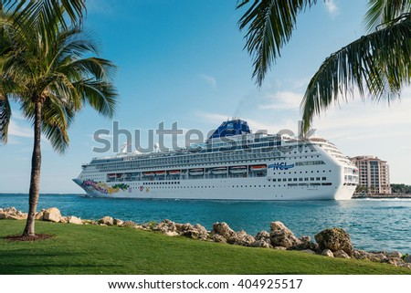 MIAMI, USA - MARCH 18, 2016: Norwegian Sky Cruise view from South Pointe Park. - stock photo