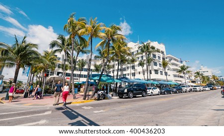 MIAMI, USA - MARCH 14, 2016: The famous Ocean Drive Avenue in Miami Beach. - stock photo