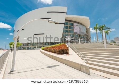 MIAMI,USA - MAY 27,2014 : The American Airlines Arena, home of the Miami Heat professional basketball team - stock photo