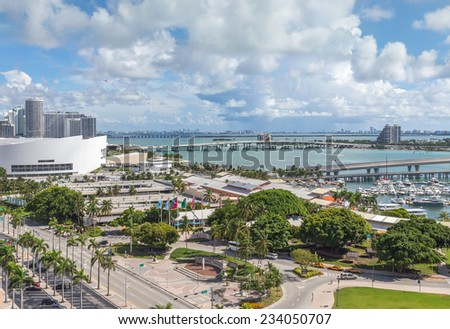 MIAMI, USA - SEPTEMBER 10, 2014 : American Airlines Arena at Downtown Miami on September 10, 2014 in Miami. - stock photo