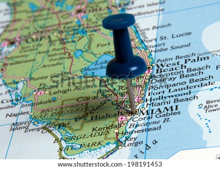Miami with pin  in the map - stock photo