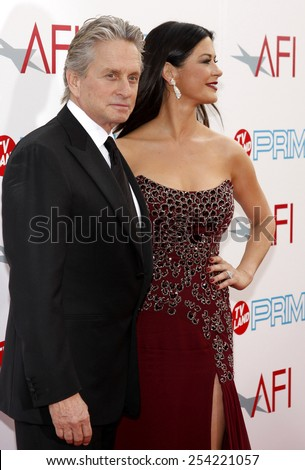 Michael Douglas and Catherine Zeta-Jones at the 37th Annual AFI LIfetime Achievement Awards held at the Sony Pictures Studios, California, United States on June 11, 2009. - stock photo