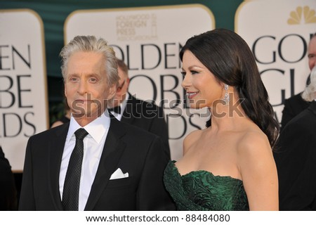 Michael Douglas and Catherine Zeta-Jones at the 68th Annual Golden Globe Awards at the Beverly Hilton Hotel. January 16, 2011  Beverly Hills, CA Picture: Paul Smith / Featureflash - stock photo